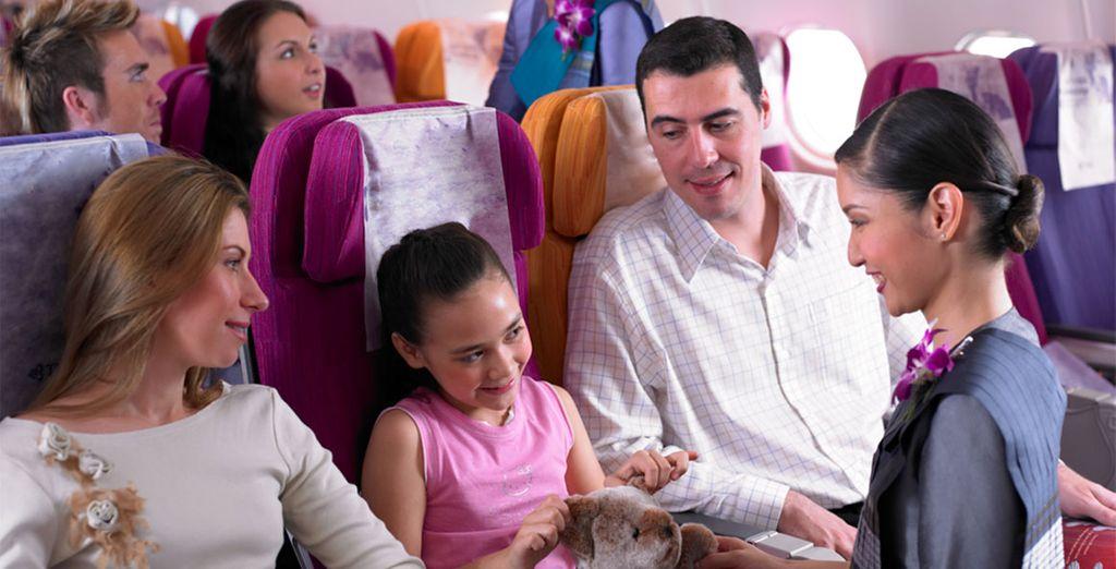 Vous aurez le bonheur de voyager à bord de l'A380 sur l'axe Paris Bangkok