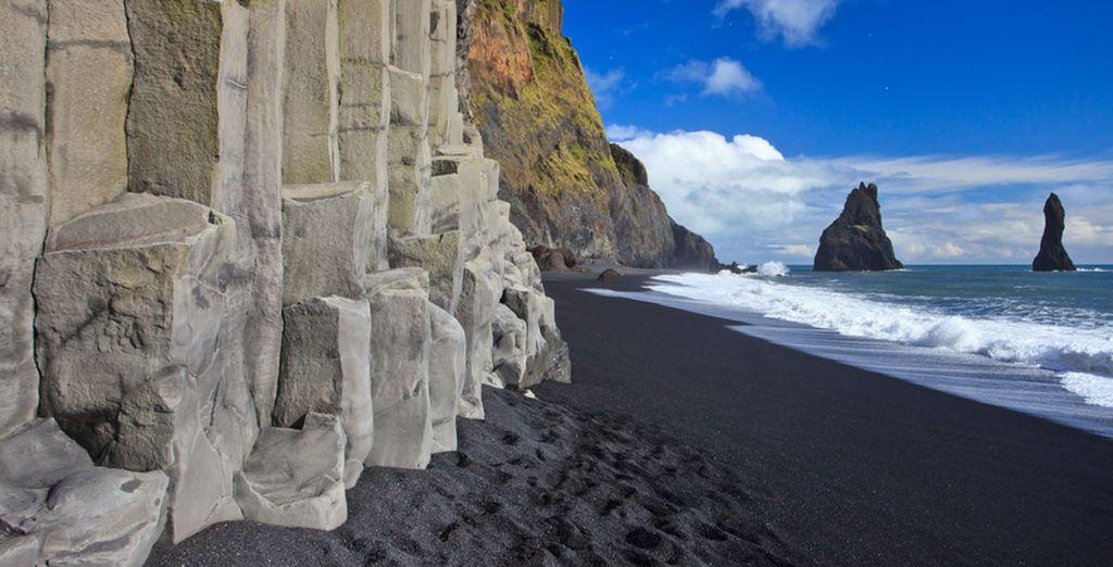 And Reynisfjara's black sand beaches at Vík í Mýrdal
