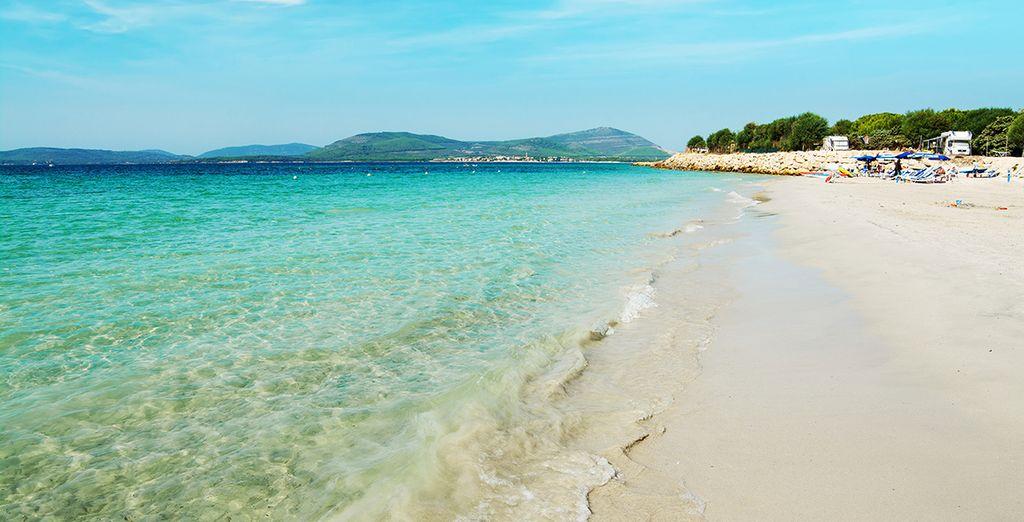 Nehmen Sie das Shuttle und seien Sie in 10 Minuten am Strand, wo Sie freien Eintritt zum Beach Club haben