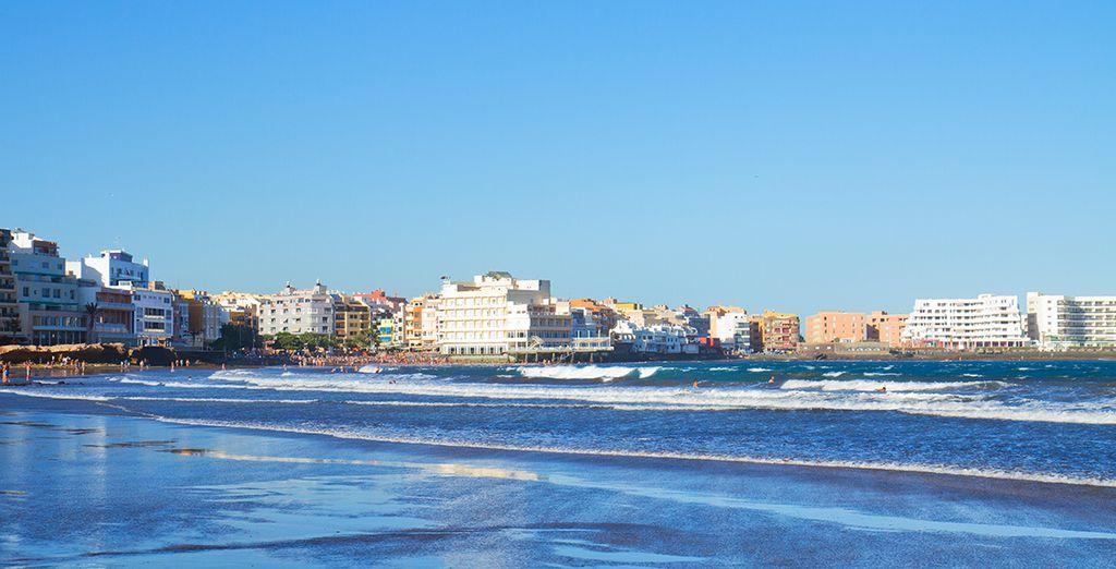 El Medano, der längste Strand der Insel, zwei Kilometer lang