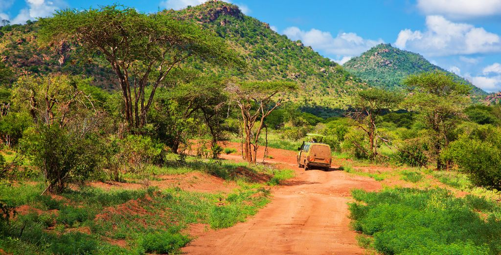 Folgen Sie den markanten, roten Pfaden im Tsavo East National Park