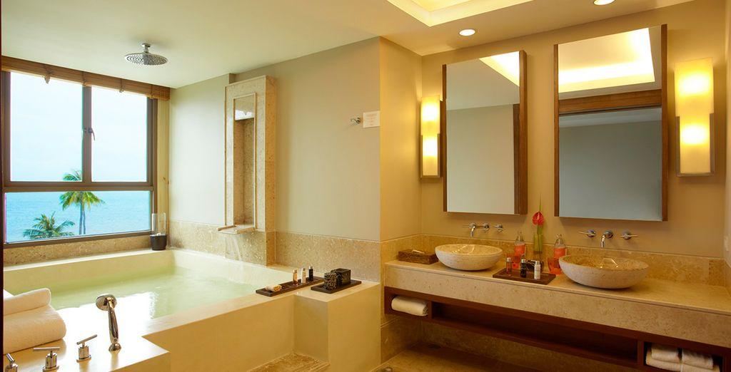 Die Badezimmer der Suites sind voll augestattet