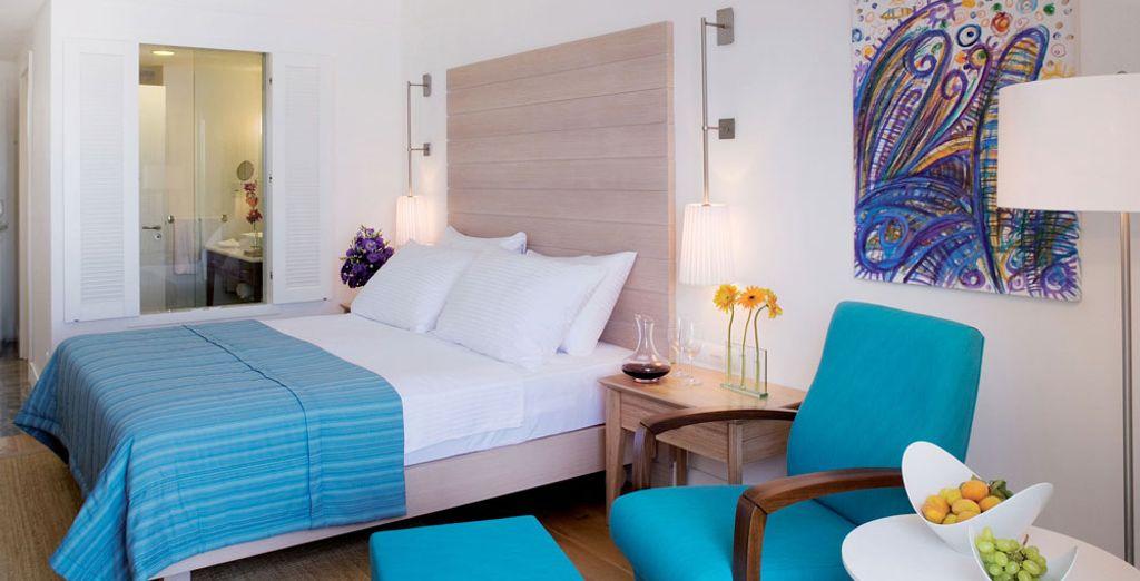 O la Habitación Luxury que ofrece vistas al mar Egeo