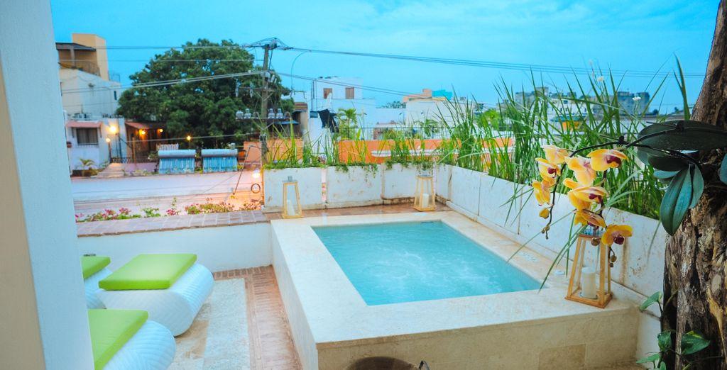 Que ofrece una increíble piscina privada
