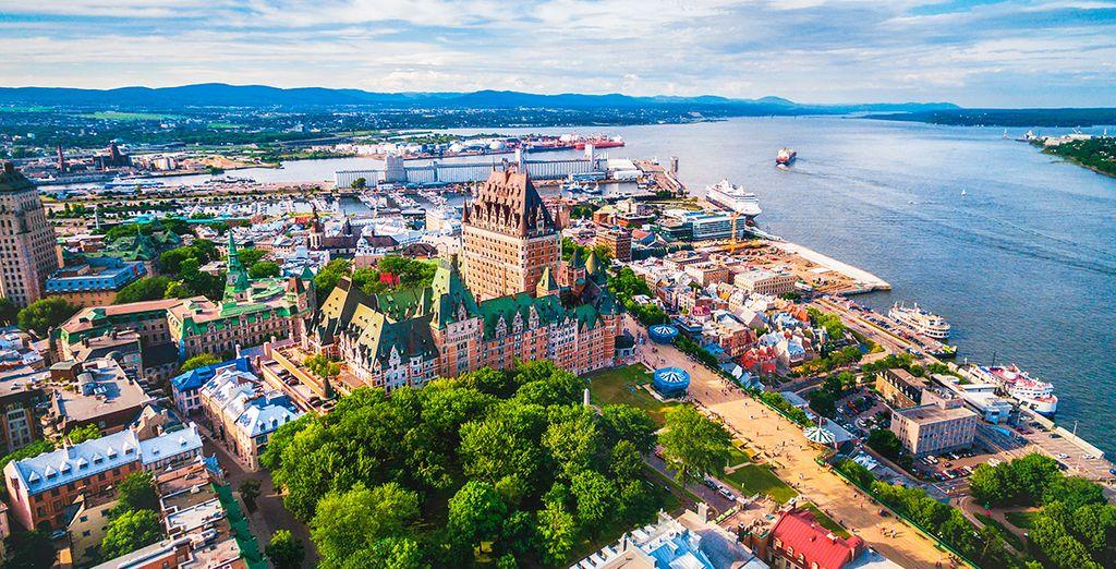 Tus dos primeras noches las pasarás en Quebec, la cual muestra un skyline romántico y calmado
