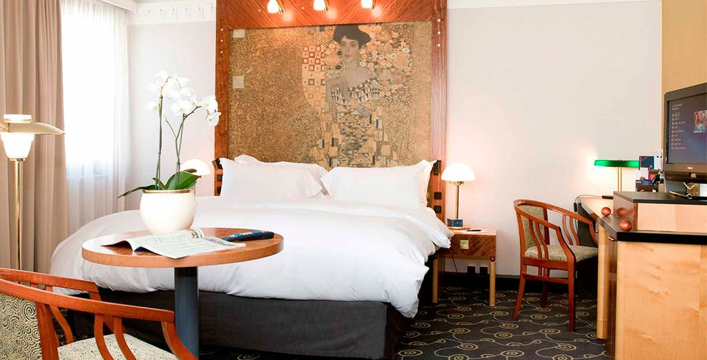 Descanse en su habitación Deluxe con estilo Art Nouveau