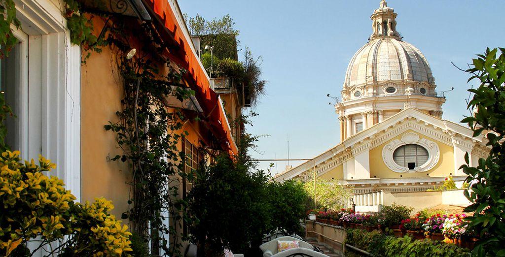 Dispone de magníficas vistas a la basílica de San Pedro