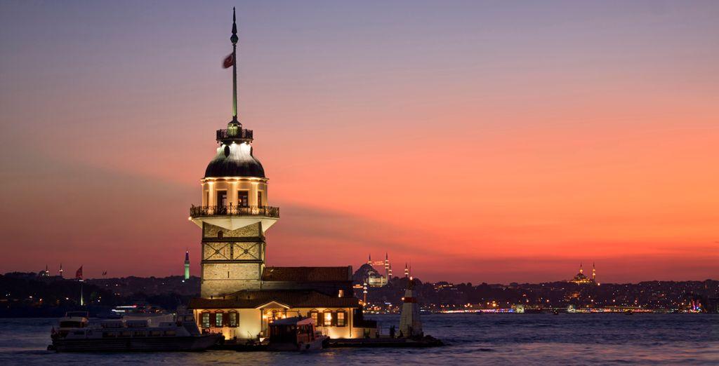Podrá divisar la torre de Leandro enmarcada en una mágica puesta de sol