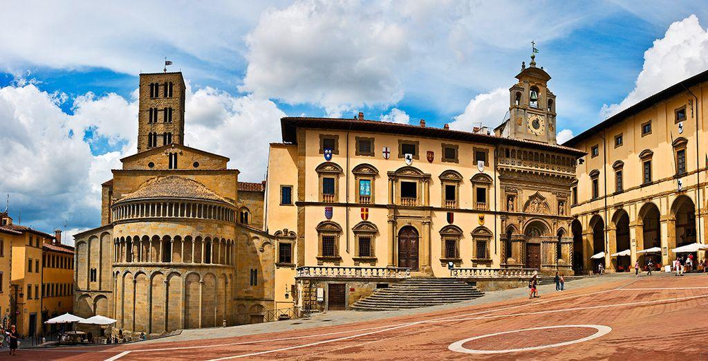 Acérquese a ciudades como Arezzo
