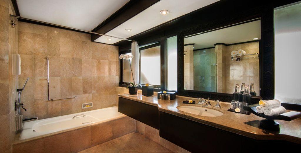 Su habitación cuenta con un baño totalmente equipado