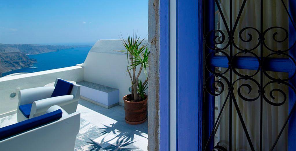 Con preciosas vistas a la Caldera desde su terraza