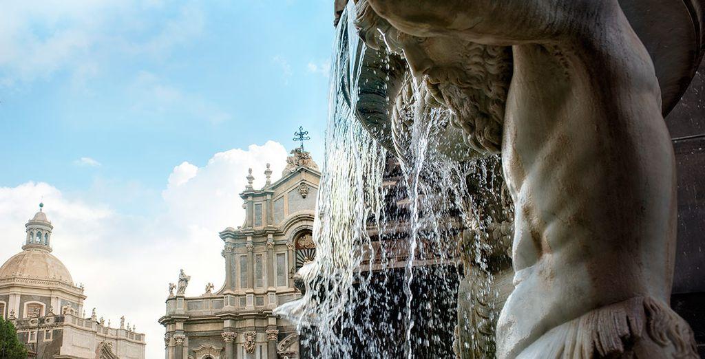 La fuente y catedral de Santa Agatha