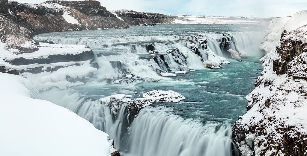 Visitaréis la impresionante cascada de Gulfoss