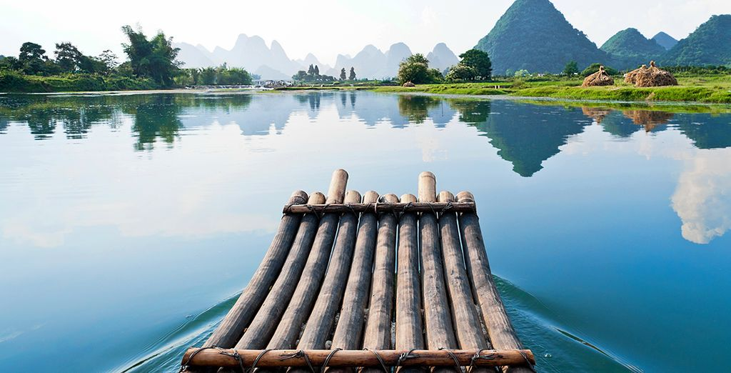 El Río Lijiang en Guilin, famoso por su belleza paisajística