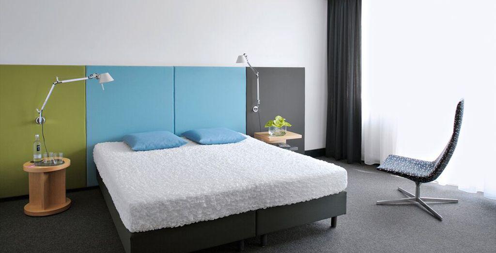 Te alojarás en una moderna habitación Estándar