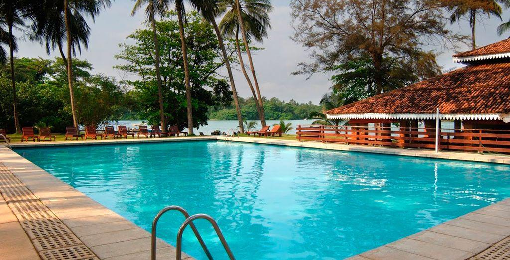 Báñese en la gran piscina del resort