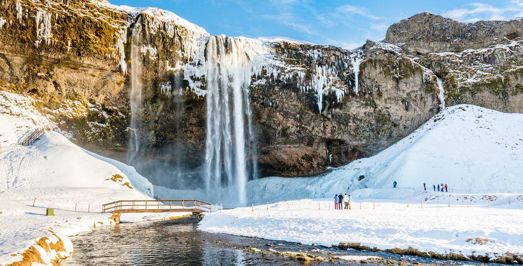 El tercer día harás una primera parada en la cascada de Seljalandsfoss