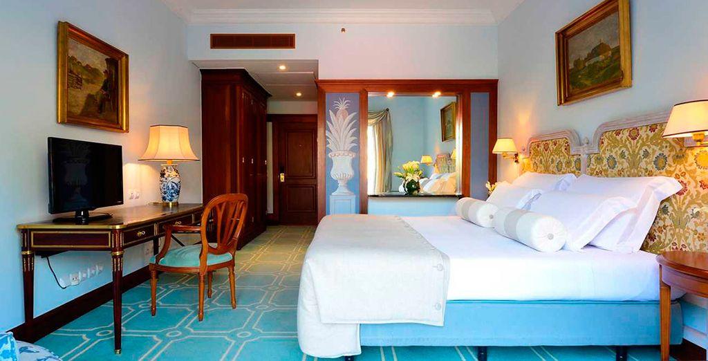 Descansarás en una cómoda habitación Clásica con Vistas al Jardín