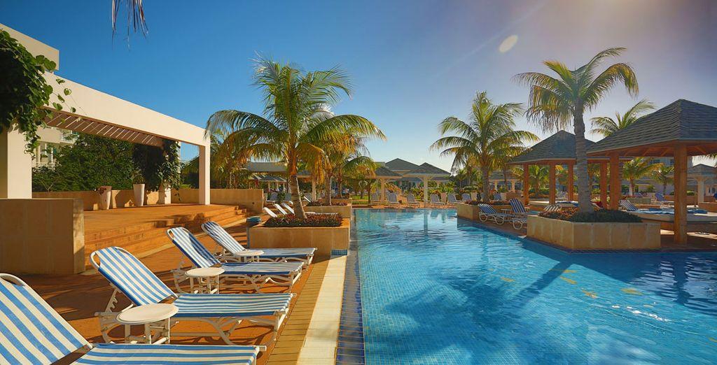 Tome el sol junto a la piscina
