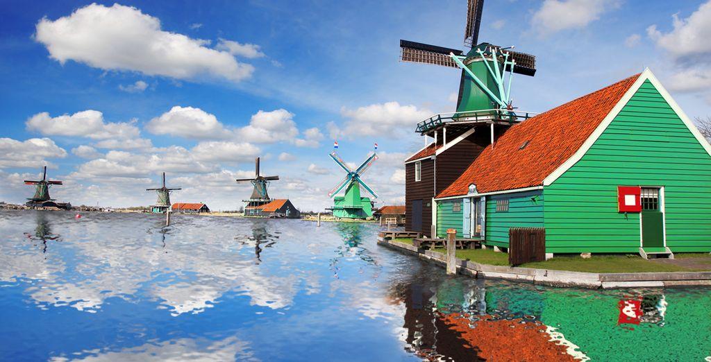 Los emblemáticos molinos de viento son el símbolo de Holanda