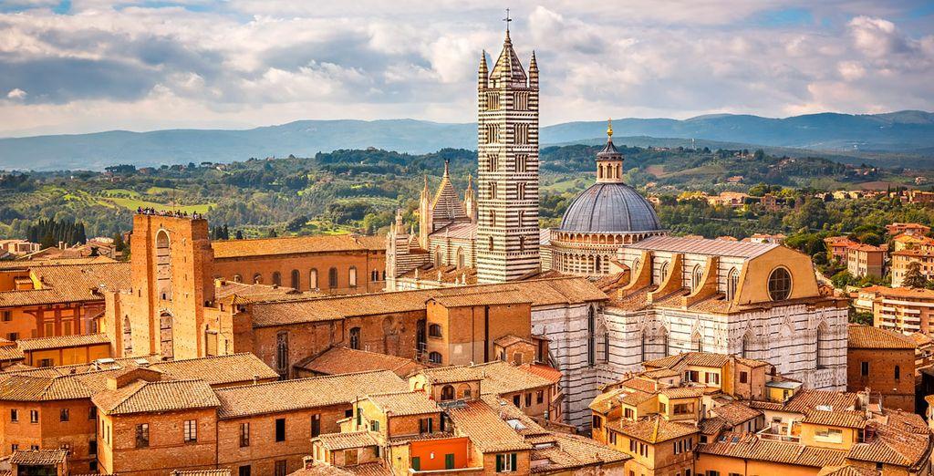 Siena rodeada por plantaciones de olivas y de vinos de el Chianti