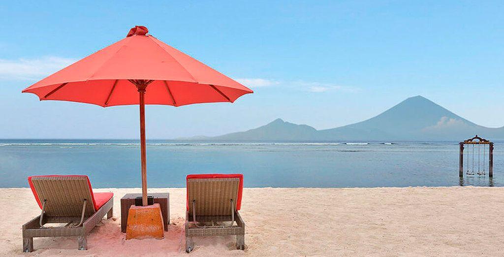 O toma el sol en las aguas de Indonesia