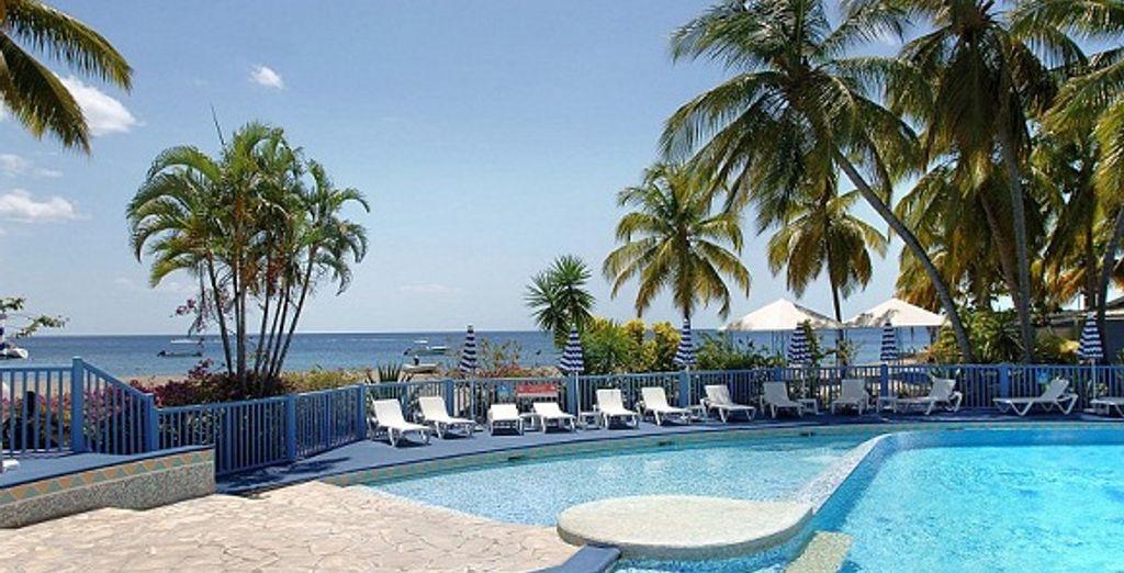 La piscine et la vue sur la mer des Caraïbes - Hôtel Club Le Marouba*** Fort De France