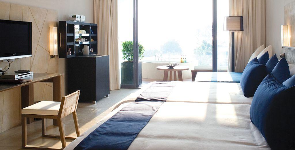 Vous aurez le choix d'être hébergé en chambre Veranda Jacuzzi...