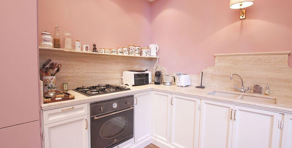 Une cuisine colorée...