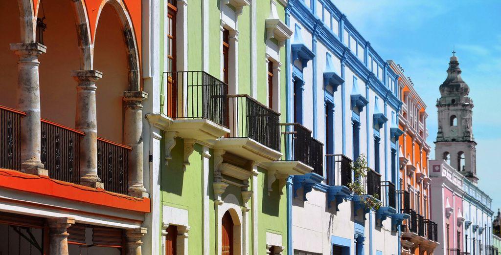 Ruelles et façades colorées de Campeche au Mexique