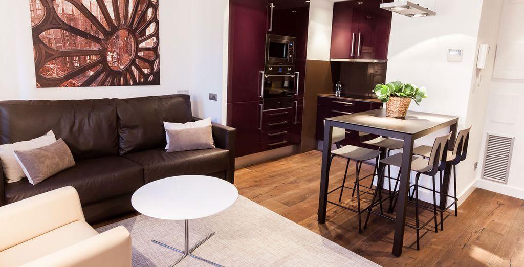 Appartement avec chambre double tout confort à Barcelone avec salon, et cuisine toute équipée