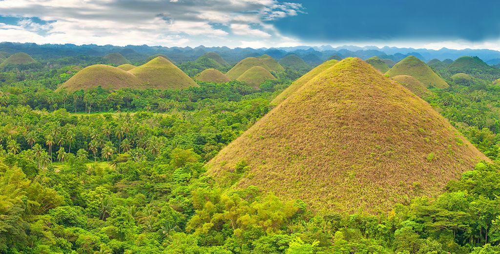 Photographie et paysage de Chocolate Hilles, forêts, montagnes et rivière des Philippines