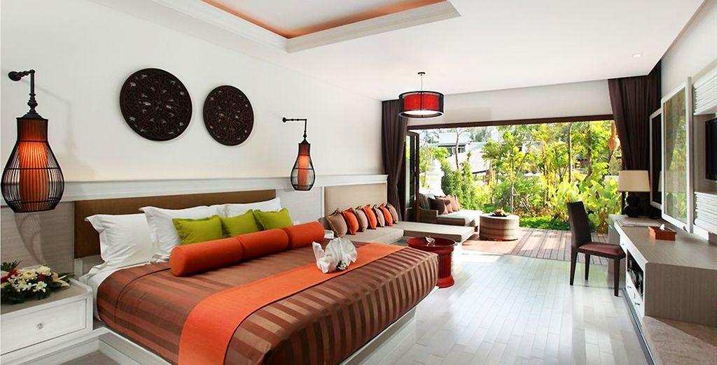Posez vos valises dans la spacieuse chambre Garden Terrace