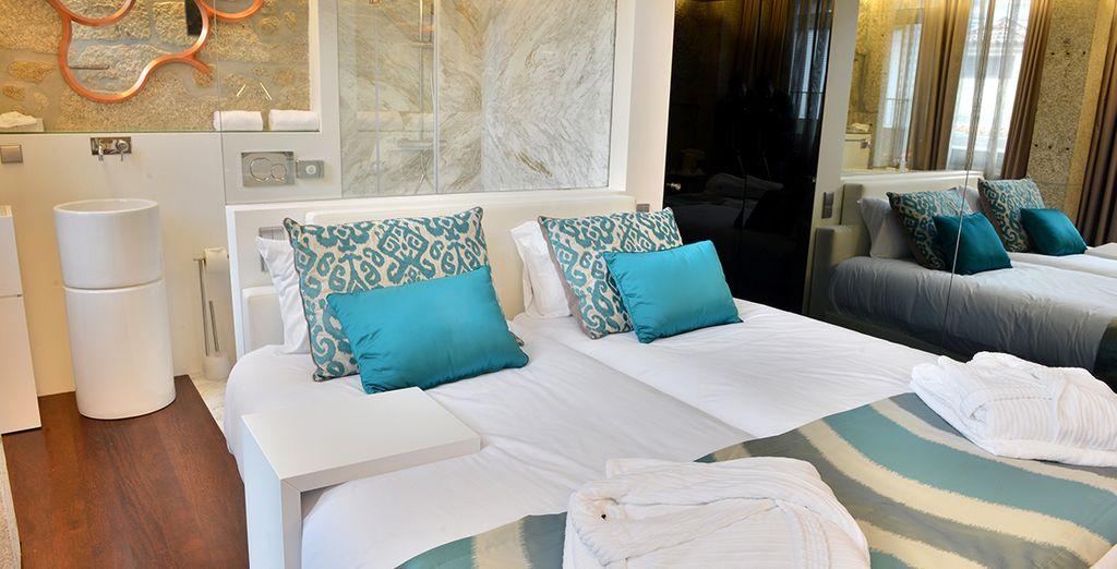 Posez vos valises en chambre avec terrasse...