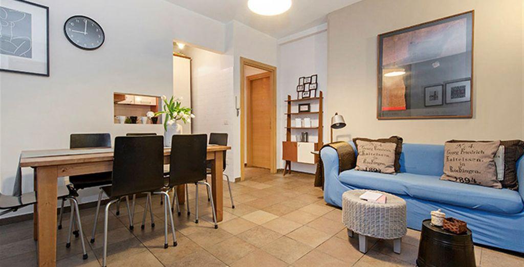 Appartement 7 : Le salon / salle-à-manger