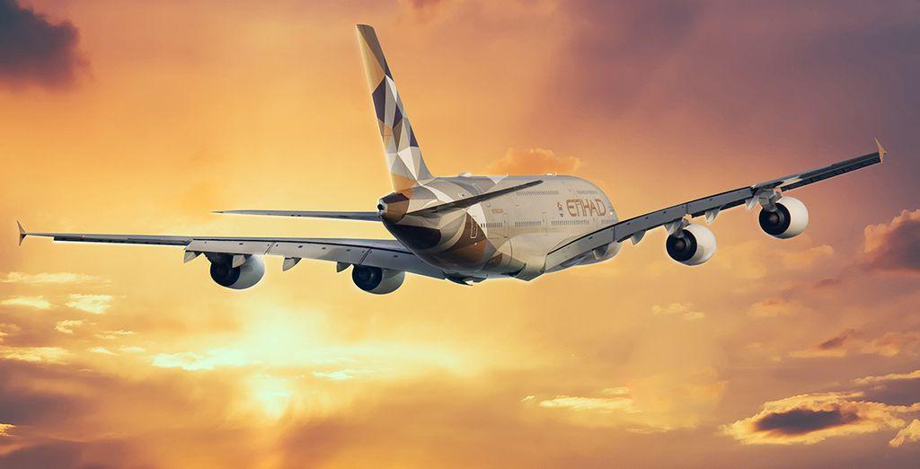 Pour rejoindre ces vacances de rêve, choisissez en option et avec supplément de voyager sur la compagnie Etihad Airways