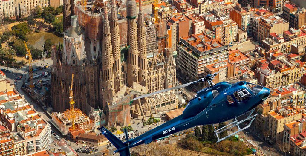 Ou encore vue d'en haut, lors d'un vol en hélicoptère en option