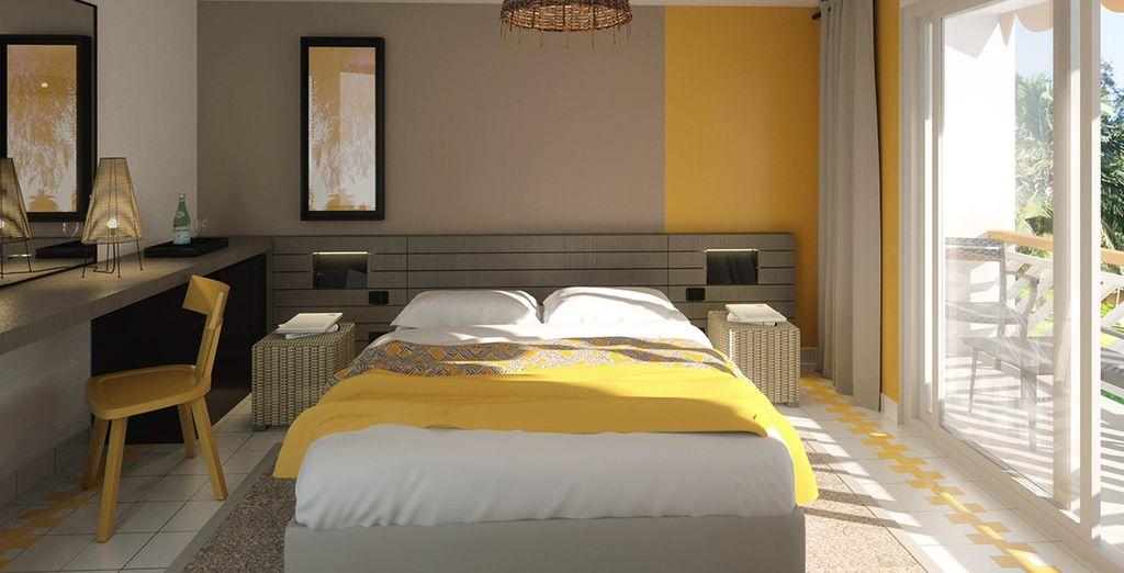 Vous prendrez place dans un chambre au style épuré et contemporain