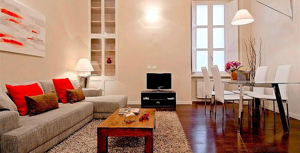 Appartement 5 : Le salon / salle-à-manger