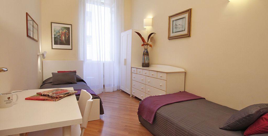 La deuxième chambre spacieuse avec 2 lits simples