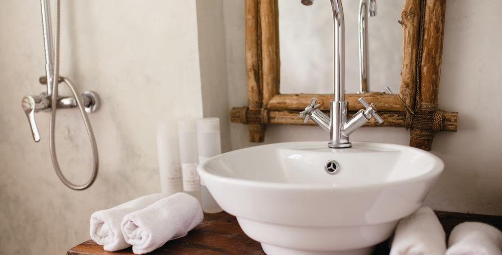Même la salle de bains est chaleureuse