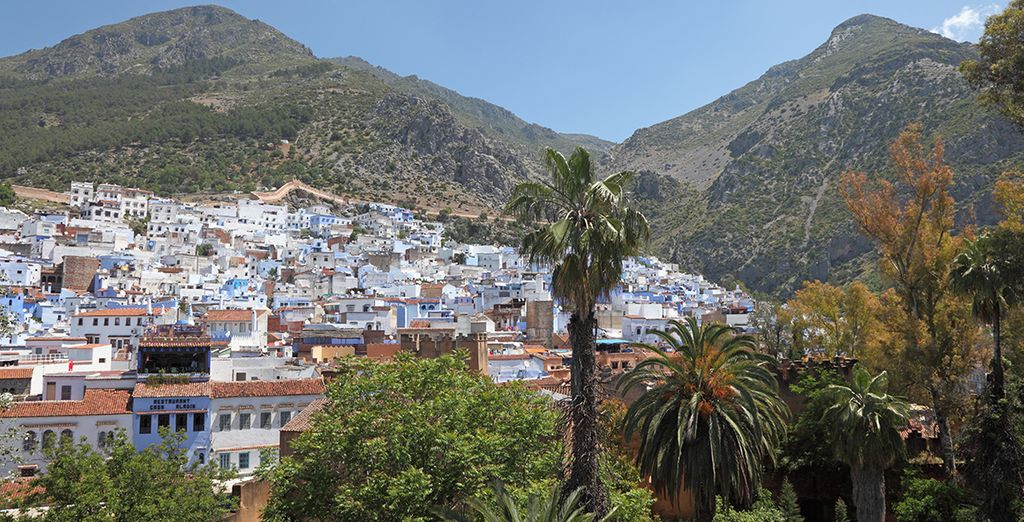 Photographie de la ville de Chefchaouen au Maroc