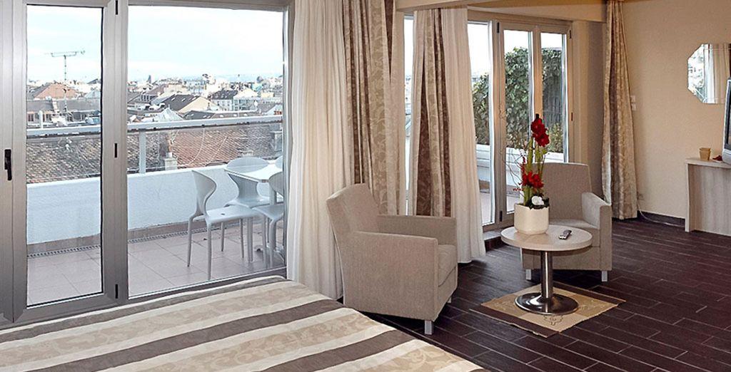 Depuis votre spacieux studio de l'Adagio Genève 4* - Aparthotel Adagio Genève Mont-Blanc 4* Genève