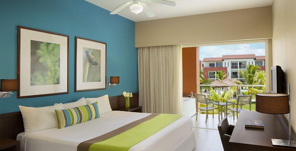 Potrete scegliere tra le camere Comfort vista giardino