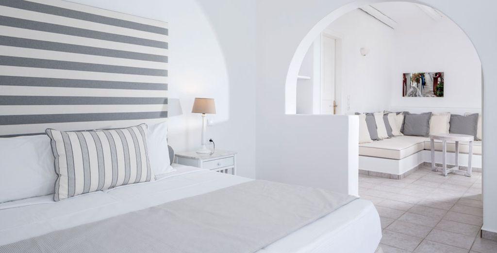 La suite con vista mare è ideale per una famiglia di quattro persone