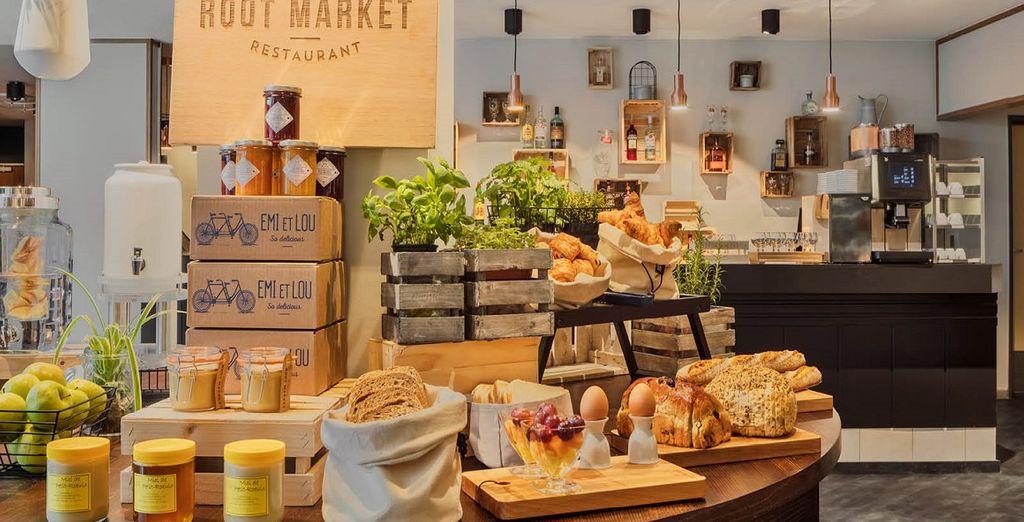 Al Root Market la colazione é ricca di ingredienti scelti