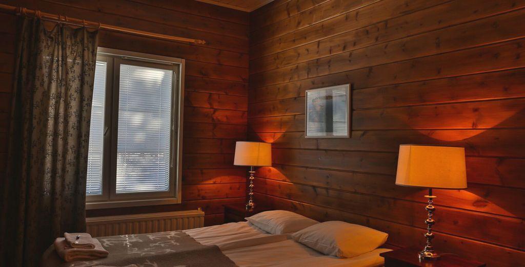 Vi rilasserete in suggestive camere di legno