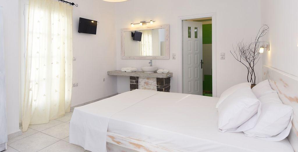 Soggiornerete nelle mediterranee camere classic con terrazza personale