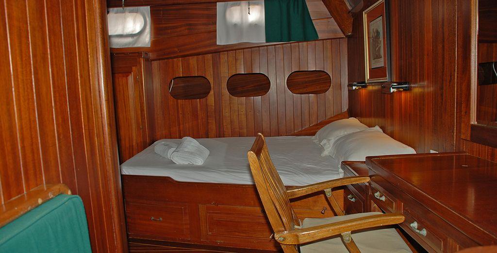 Qui alloggerete in confortevoli cabine