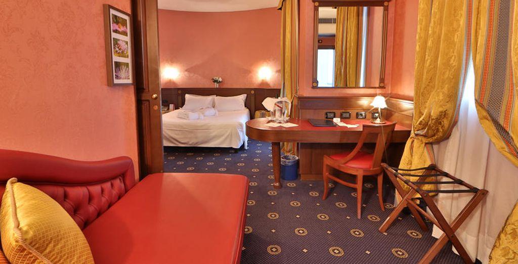 Hotel di alta gamma a Bologna, selezionato da Voyage Privè, camera spaziosa e confortevole vicino a tutte le attività